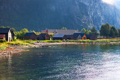 Buildings on fjord shore. In Norway Stock Images