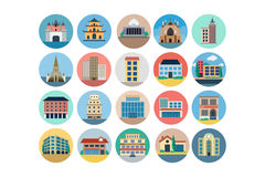 Buildings Flat Colored Icons 4 Stock Photo