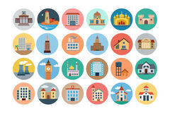 Buildings Flat Colored Icons 2 Royalty Free Stock Images