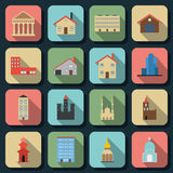 Buildings flat vector icons Royalty Free Stock Photos
