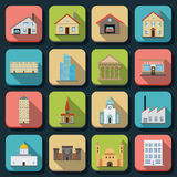 Buildings flat vector icons Royalty Free Stock Photo