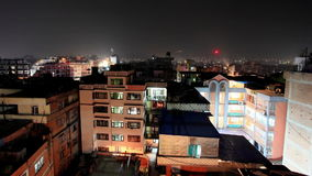 Buildings with flats at night, timelapse. Kathmandu. Nepal Royalty Free Stock Photography