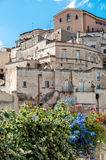 Buildings and flowers at Sassi di Matera Royalty Free Stock Photography