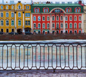 Buildings at the Fontanka embankment on the early spring day. Stock Photos