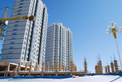 Buildings and foundation. High-rise residential houses and foundation Royalty Free Stock Photography