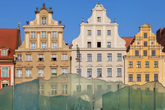 Buildings and fountain of the Wroclaw Rynek Royalty Free Stock Photography