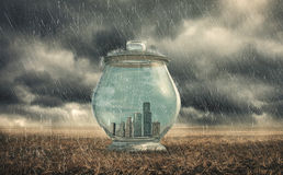 Buildings in a glass jar Stock Images