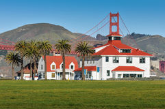 Buildings with the Golden Gate Bridge in background Stock Images