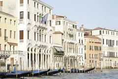 Buildings and gondolas on the Grand Canal, Venice, Italy Stock Photo