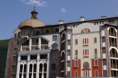 Buildings of Gorki City Apartments. Krasnaya Polyana, Sochi, Russia Royalty Free Stock Photos
