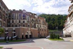 Buildings of Gorki City Apartments. Krasnaya Polyana, Sochi, Russia Stock Photo