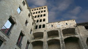Buildings in the Gothic Quarter of Barcelona, Spain stock footage