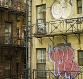 Buildings with Graffiti, New York City Royalty Free Stock Photo