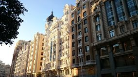 Buildings on Gran Via street, Madrid, Spain Stock Photos