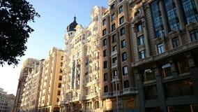 Buildings on Gran Via street, Madrid, Spain Stock Photos