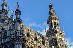 Grand Place of Brussels in Belgium. Buildings on the Grand Place in Brussels. This square resisted the attacks and bombings. Some buildings were rebuilt in the Stock Photo