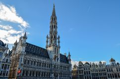Grand Place of Brussels in Belgium. Buildings on the Grand Place in Brussels. This square resisted the attacks and bombings. Some buildings were rebuilt in the Royalty Free Stock Photo