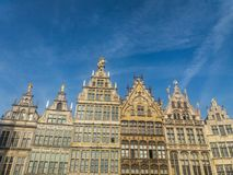 Grand Place of Brussels in Belgium. Buildings on the Grand Place in Brussels. This square resisted the attacks and bombings. Some buildings were rebuilt in the Stock Photography