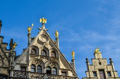 Grand Place of Brussels in Belgium. Buildings on the Grand Place in Brussels. This square resisted the attacks and bombings. Some buildings were rebuilt in the Royalty Free Stock Photography
