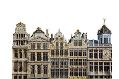Buildings in Grand Place Square Bruxelles, Belgium isolated on white background