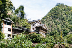 Buildings in green hills in Jiangdi village Stock Image