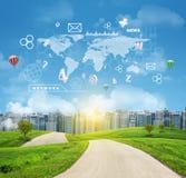 Buildings, green hills, road. World map, hexagons Stock Photos