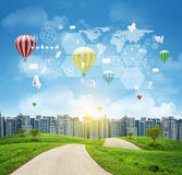 Buildings, green hills, road. World map, hexagons Stock Images