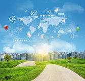 Buildings, green hills, road. World map, hexagons Royalty Free Stock Image