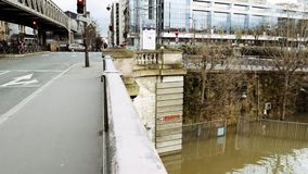 Buildings of Grenelle neighborhood in southwestern Paris, flooding. PARIS, FRANCE - JAN 30, 2018: Buildings of Grenelle neighborhood in southwestern Paris stock video