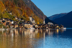 Buildings in Hallstatt during the day in the Autumn Royalty Free Stock Photography