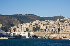 Buildings from harbour in genova, italy Royalty Free Stock Photo