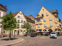 Buildings in the heart of medieval Colmar royalty free stock images