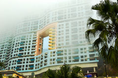 The buildings in heavy fog Stock Photography