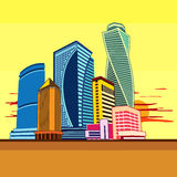 Buildings high-rise, cityscape, sunset. Cityscape of tall buildings. Graphics vector image Royalty Free Stock Photos