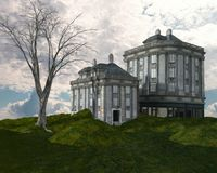 Buildings on the hill. 3D illustration of a buildings and tree on a hill with stream Stock Photo