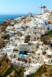 Buildings on the hill in Oia town, Santorini Royalty Free Stock Image