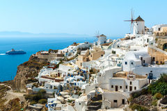 Buildings on the hill in Oia town, Santorini Royalty Free Stock Photos