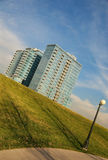 Buildings on a hillside. Some buildings near Denver on a green hillside stock image