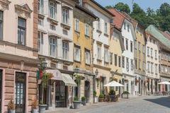 Buildings in historic centre of Ljubljana, Slovenia Stock Photo
