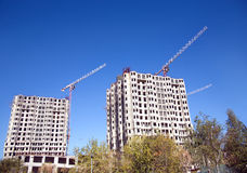 Buildings and hoisting tower cranes Stock Photo