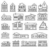 Buildings, home and house thin line icon set. Vector icons. Eps10 Royalty Free Stock Images