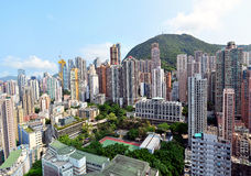 Buildings in Hong Kong. View of Hong Kong buildings on April 18, 2014 in Hong Kong, PRC royalty free stock photography