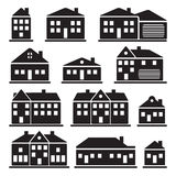 Buildings - house icons set Royalty Free Stock Images