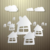 Buildings, Houses and Clouds. Abstract Buildings, Houses and Clouds Made from Paper on Cardboard Background Royalty Free Stock Photos