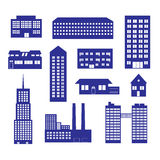 Buildings and houses icon set eps10. Blue buildings and houses icon set eps10 Stock Illustration