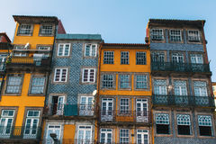 Buildings of houses in old Porto downtown. Royalty Free Stock Image