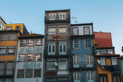 Buildings of houses in old Porto downtown. Royalty Free Stock Photos