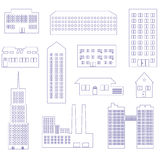Buildings and houses outline simple symbols Royalty Free Stock Photo