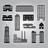 Buildings and houses stickers eps10 Royalty Free Stock Photo