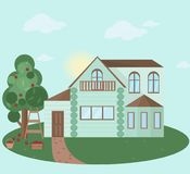 Buildings houses village architecture. Modern flat style vector illustrations Stock Image